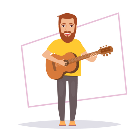 Man plays guitar. Isolated art on white background. Vector. Cartoon. Flat Illustration