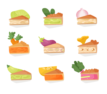 Set with vegetable pies. Onion, eggplant, spinach, cabbage, rhubarb, mushrooms, carrots, pumpkin squash Isolated art on white background Vector Cartoon Flat