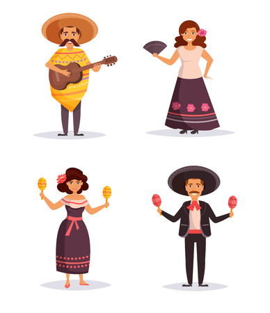 Mexican people. Isolated art on white background. Vector. Cartoon Flat Illustration