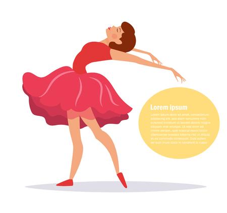 Ballerine en robe robe rouge Vecteurs