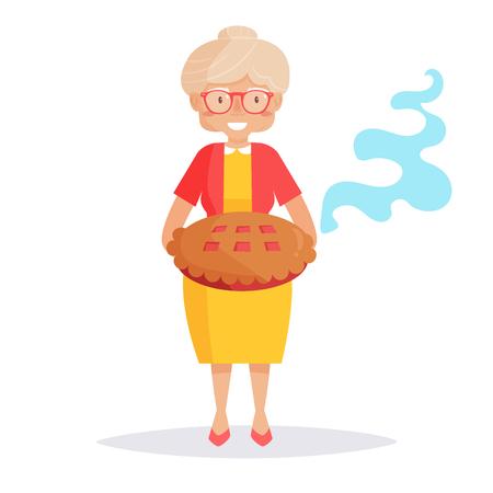 パイを持つ古い女性