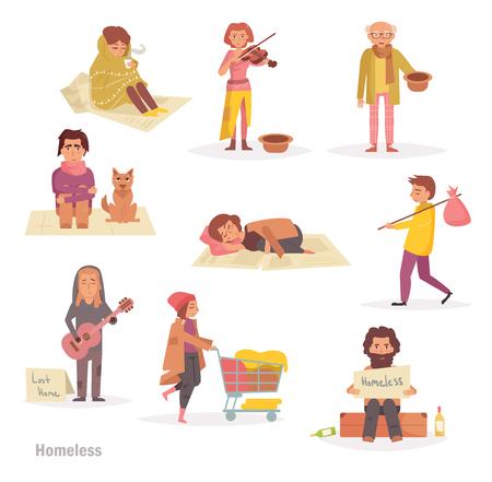 ホームレスの人たち。グループ、  イラスト・ベクター素材