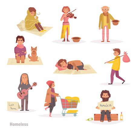Homeless people. Group, Illustration