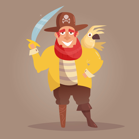 Pirate with a wooden leg and a parrot.