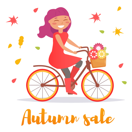 Woman on a bicycle. Autumn. Vector.