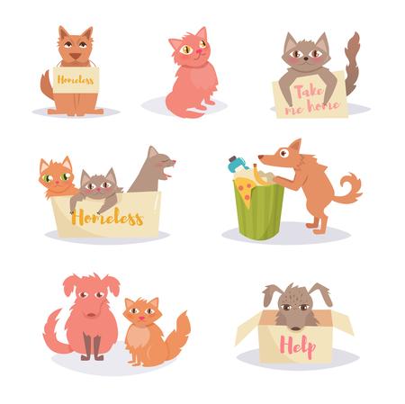 Perros y gatos callejeros. Sin hogar. Conjunto, grupo. Foto de archivo - 85200640