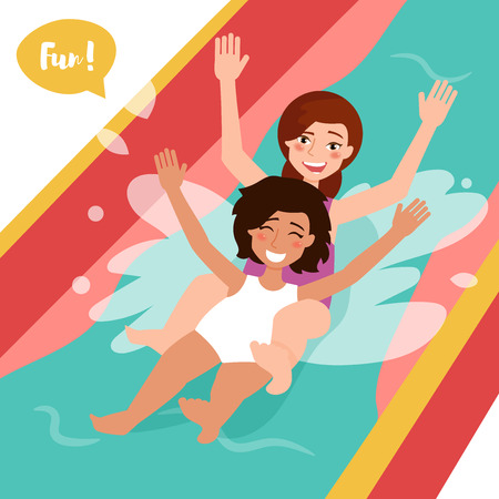 Two girls ride the water slide. Illustration