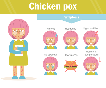 Chicken pox. Vector. Cartoon character Isolated Flat Child