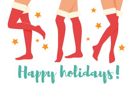 Woman legs in Christmas socks. Illustration