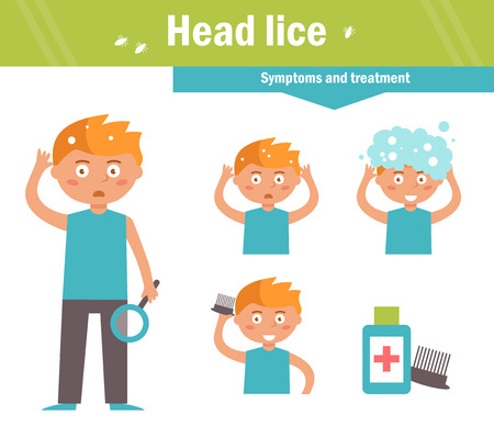 Head lice. Symptoms and treatment. Vector. Cartoon character Isolated Flat Stock Photo