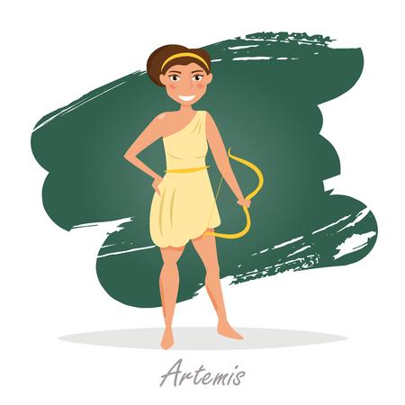 classical mythology character: Artemis. Greek gods. Vector illustration