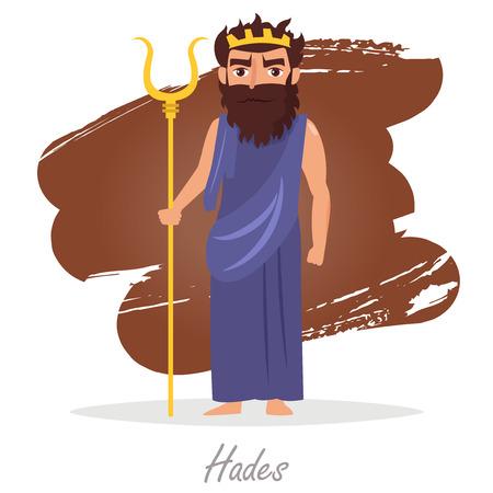 classical mythology character: Hades. Greek gods. Vector Illustration