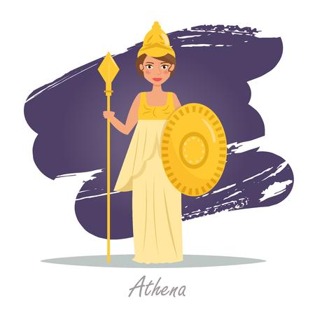 アテナ。ギリシャの神々。ベクトル