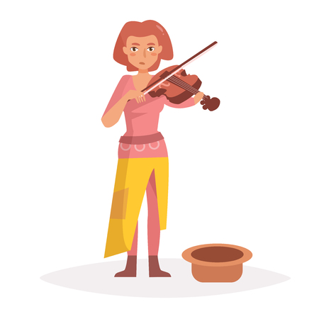 Woman plays the violin, begging.