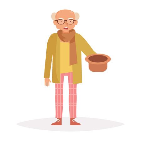 Oude man vraagt om geld. vecto Stock Illustratie