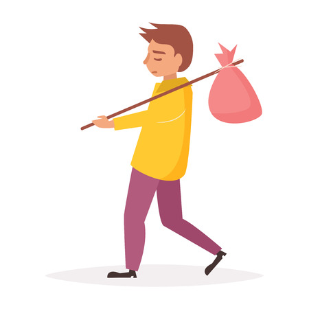 Homeless person with bag on stick