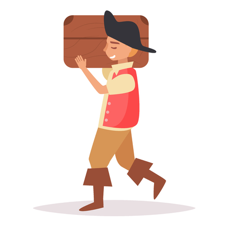 Pirate with chest. Vector Illustration