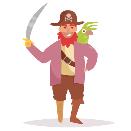 Pirate with a wooden leg and a parrot