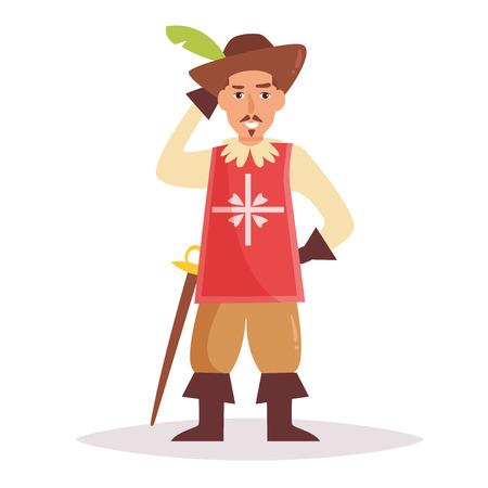 Musketeer. Vector. Cartoon Illustration