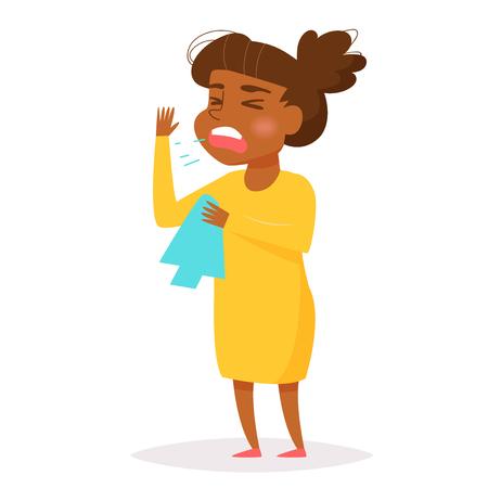 African woman sneezes.