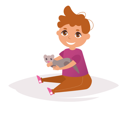 Boy with the ferret in his hands. Illustration