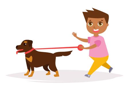 Boy and a Rottweiler. Vector.
