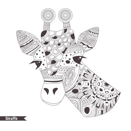 Giraffe. Kleurboek voor volwassenen, antistress kleurplaten. Hand getrokken vector geïsoleerde illustratie op witte achtergrond. Henna mehendi, tattoo schets.