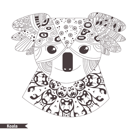 Koala. Coloring Book For Adult, Antistress Coloring Pages. Hand ...