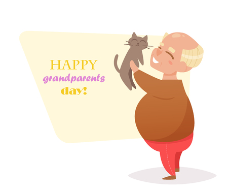 grandad: Grandpa stands with the cat in hand. Vector. Cartoon. Isolated art on white background. Flat. Grandparents day. Illustration