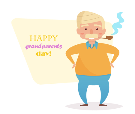 Grandfather. Vector. Cartoon. Isolated art on white background. Flat Grandparents day