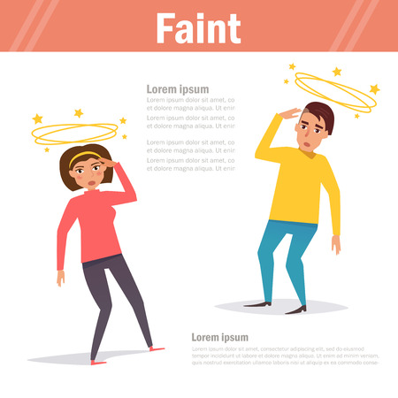 Faint. Vector. Cartoon. Isolated Illustration