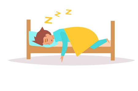lying in bed: Man sleeping in bed. Vector