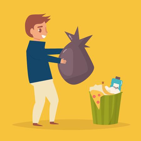 L'homme jette des ordures à la poubelle Banque d'images - 86482258