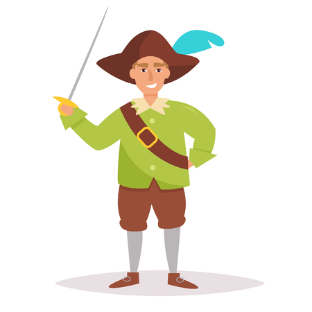 Musketeer cartoon. Isolated on white background
