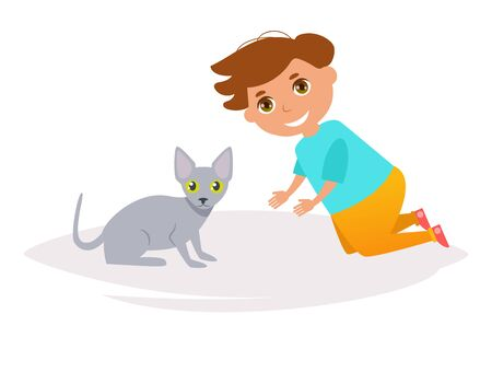 Boy and cat. Sphynx breed. Vector Stock Photo