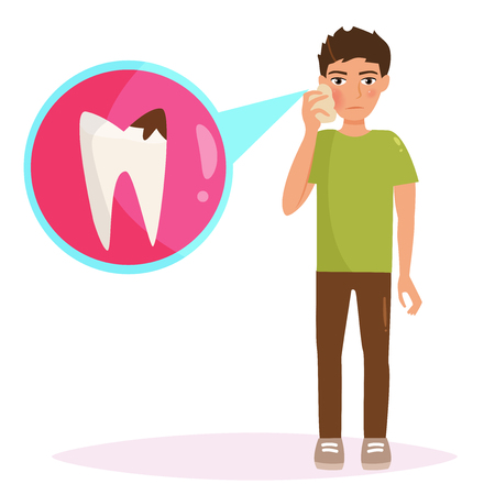Boy with a toothache illustration.