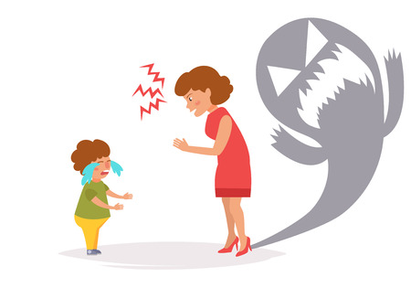 Mother yells at child. Vector. Cartoon. Isolated art on white background. Flat Illustration