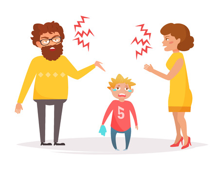 Mother and father yell at each other, baby is crying. Divorce. Vector. Cartoon. Isolated art on white background. Flat