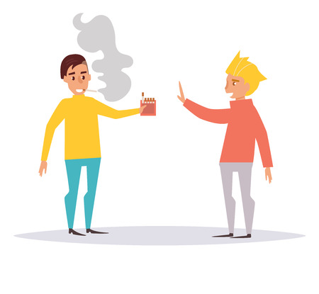 Refusal of smoking. One man offers another man cigarette to smoke. Vector. Cartoon. Isolated art on white background. Flat