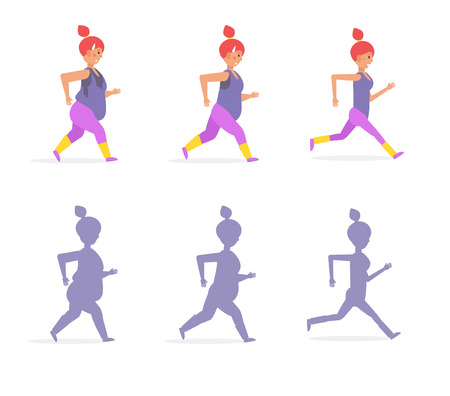 Girl running and losing weight. Vector. Cartoon. Isolated art on white background. Flat