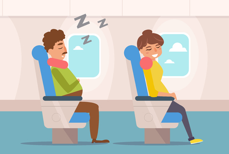 People are sleeping on the plane. Vector. Cartoon. Isolated art on white background. Flat