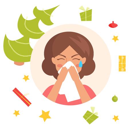 Sick woman icon. Illustration