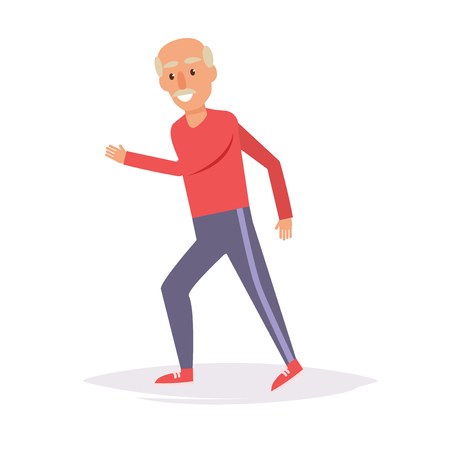 Elderly man runs. Sports. Stockfoto - 92161837