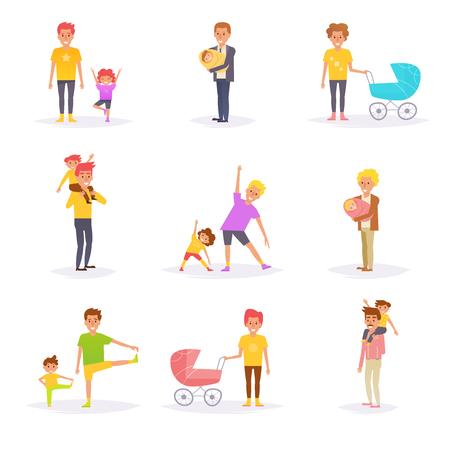 Padri e figli. Vettore. Cartoon. Arte isolata su sfondo bianco. Piatto Archivio Fotografico - 93274297