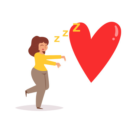 Female with heart icon vector illustration Illustration