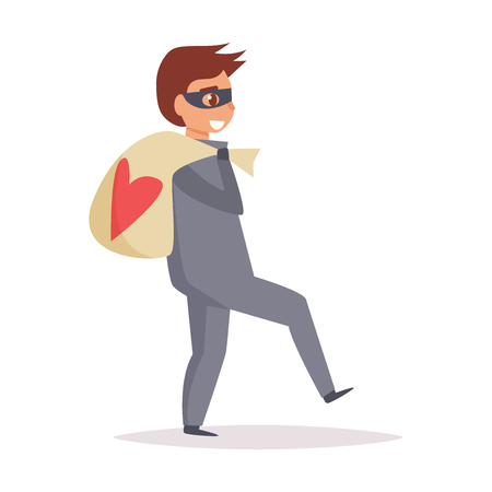 Thief carrying a sack with heart design illustration.
