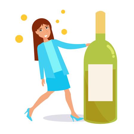 Frau mit einer Flasche Wein . Vektor . Karikatur . Isolierte Kunst auf weißem Hintergrund . Wohnung Standard-Bild - 94221521