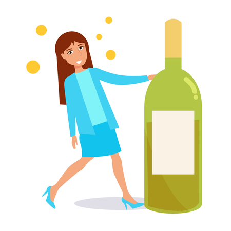 Woman with a bottle of wine. Vector. Cartoon. Isolated art on white background. Flat