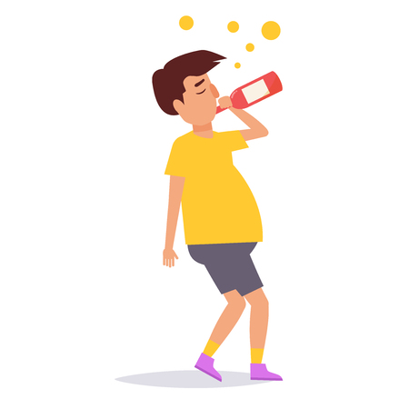 Drunk person. Vector. Cartoon. Isolated art on white background Flat