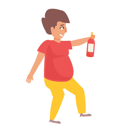 Fat man with alcohol in his hands Illustration